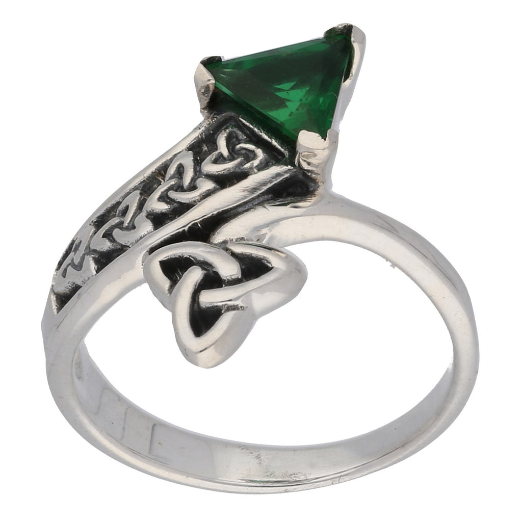 Triquetra Celtic Trinity Knot Green Glass Trillion Bypass Sterling Silver Ring