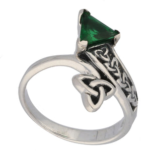 Triquetra Celtic Trinity Knot Green Glass Trillion Bypass Sterling Silver Ring - Silver Insanity