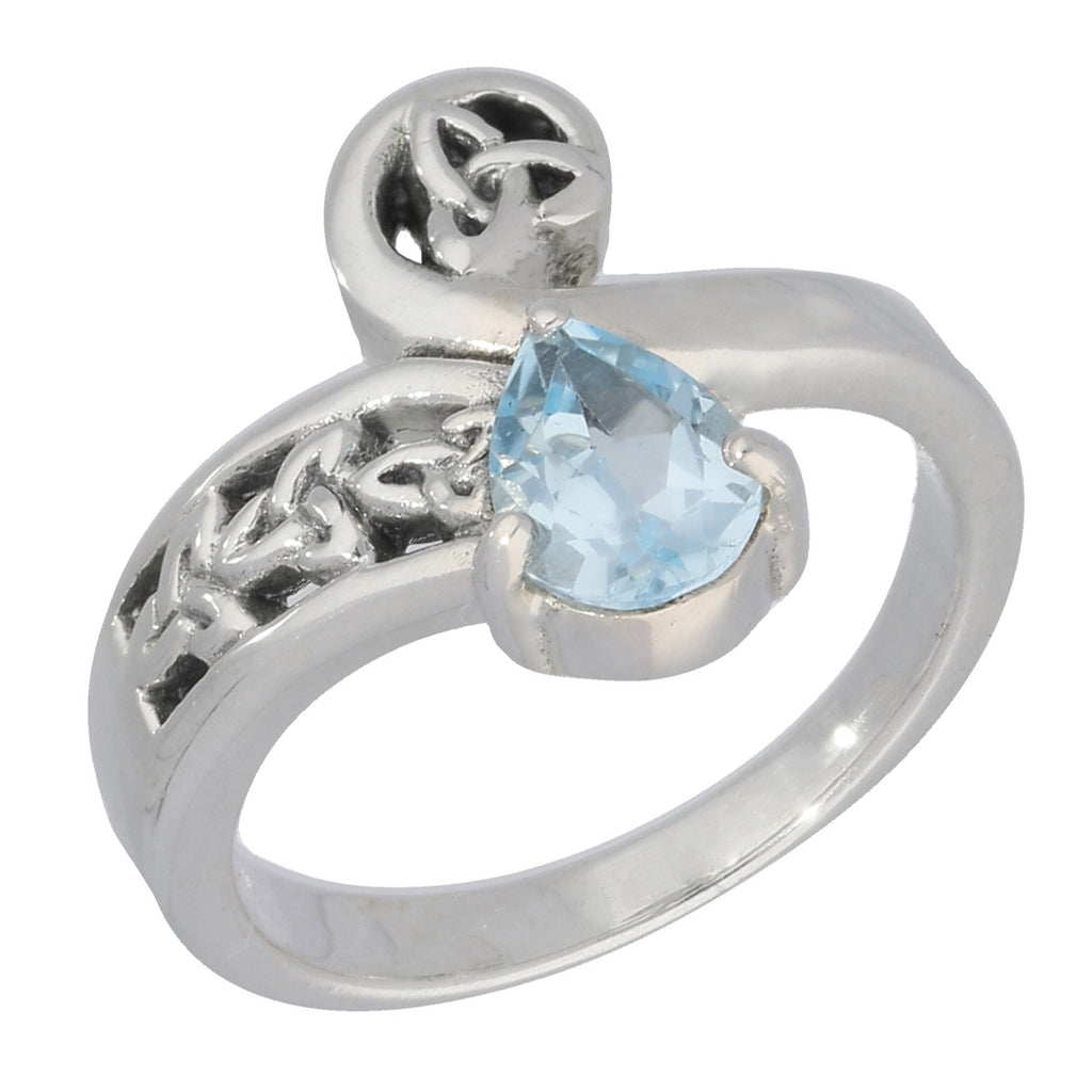 Celtic Trinity Knot Blue Topaz Bypass Sterling Silver Ring