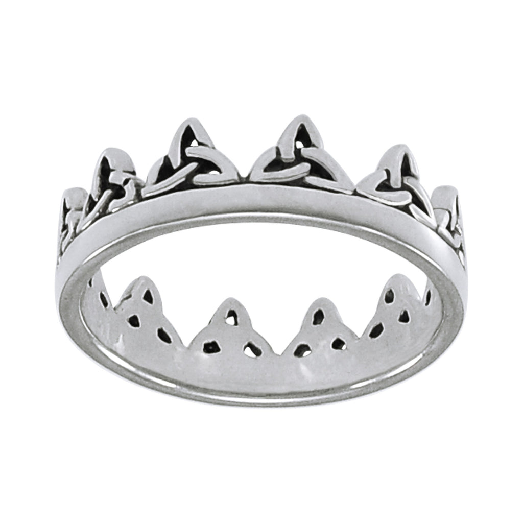 Crown of Celtic Knots Irish Royalty Sterling Silver Band Ring