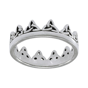 Crown of Celtic Knots Irish Royalty Sterling Silver Band Ring - Silver Insanity