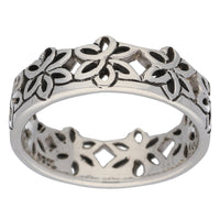 Celtic Flower Crown Sterling Silver Band Ring - Silver Insanity