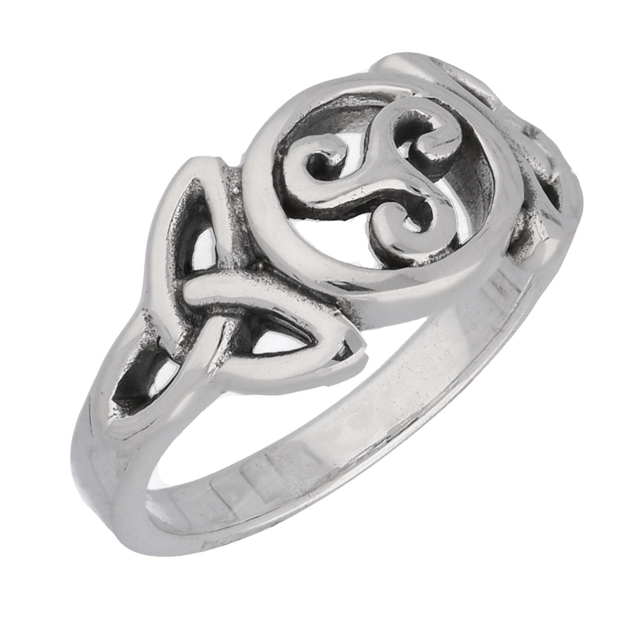 Triple Spiral Celtic Knot Triskele Trinity Sterling Silver Ring - Silver Insanity