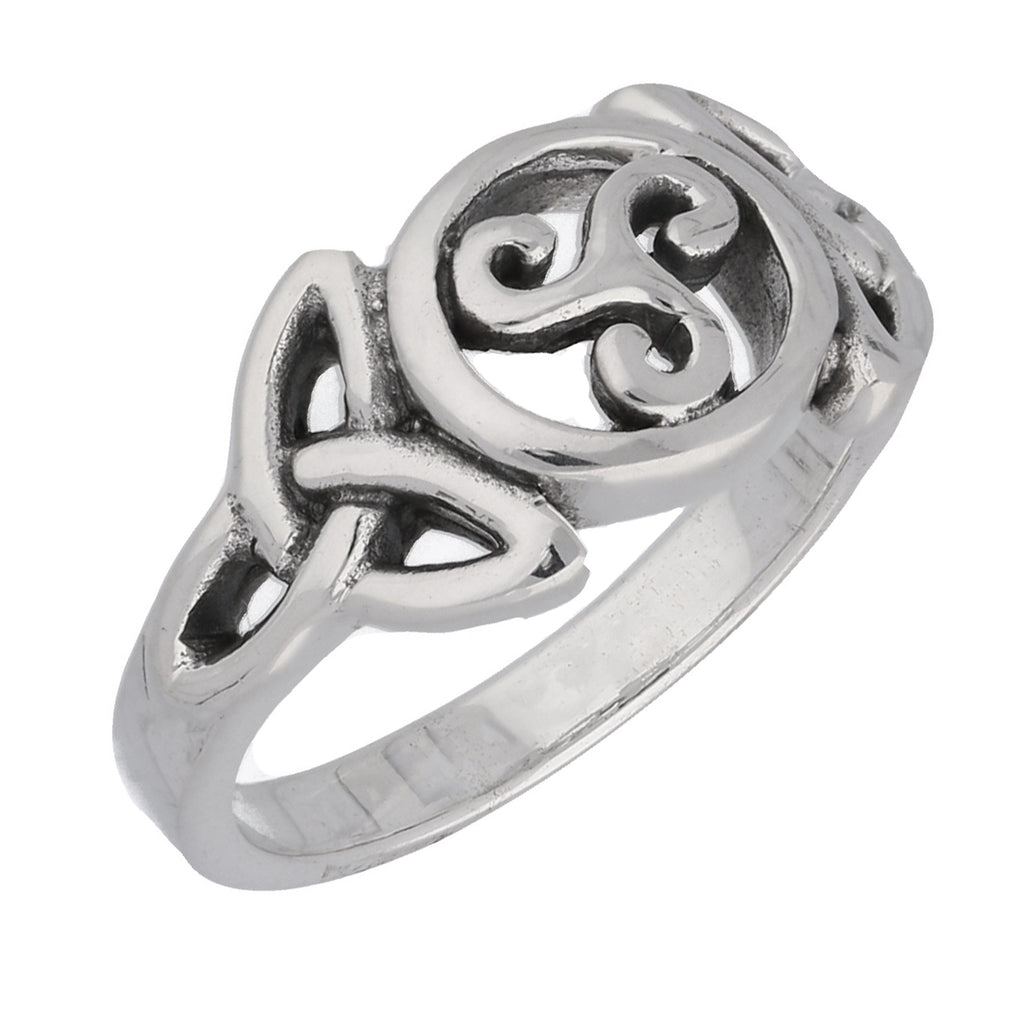 Triple Spiral Celtic Knot Triskele Trinity Sterling Silver Ring