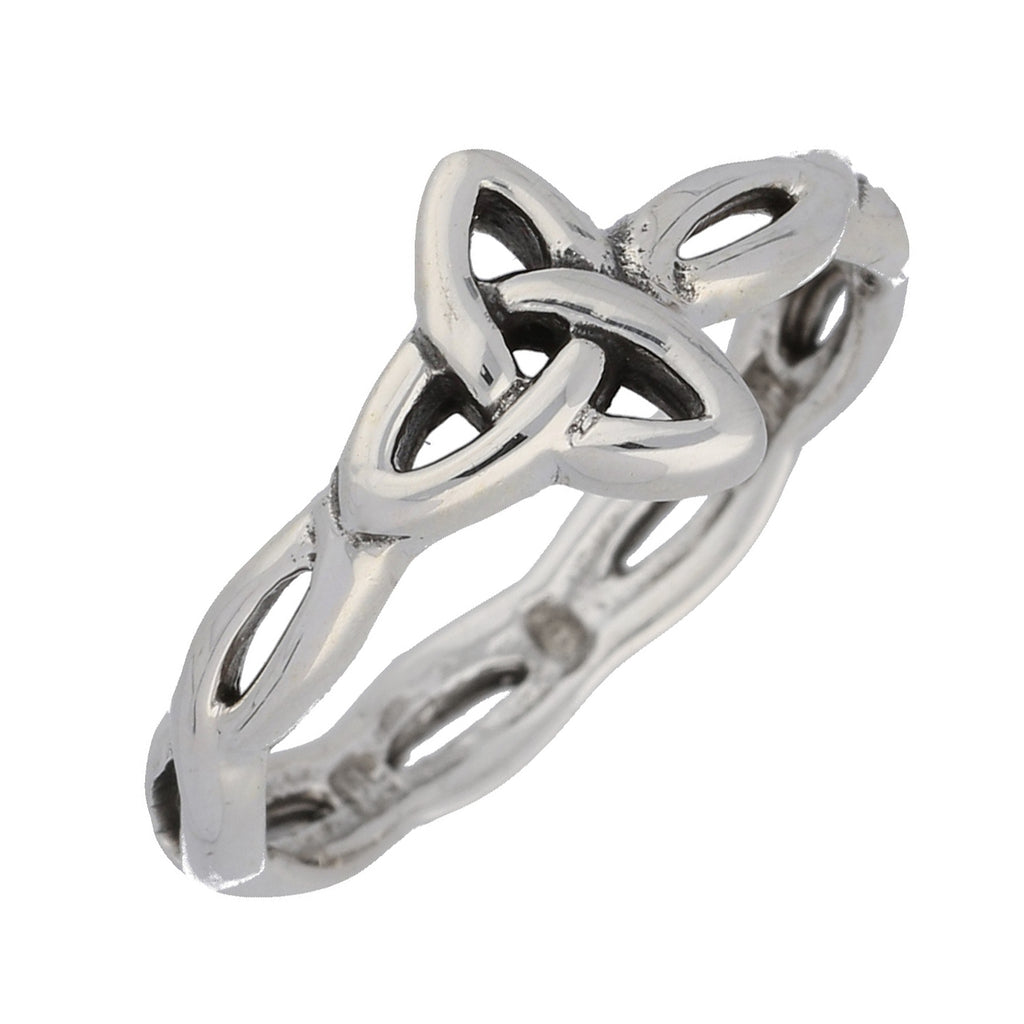 Sideways Angled Trinity Knot Ring in Sterling Silver