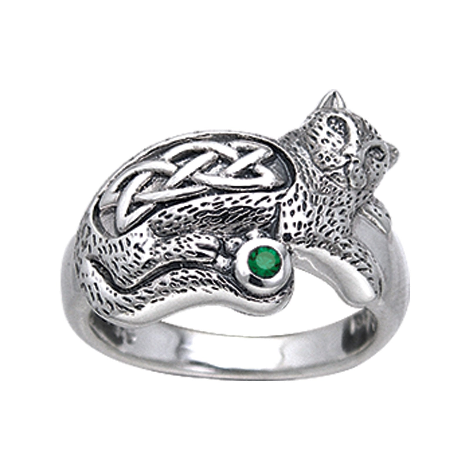 Sterling Silver Celtic Knot Green Glass Cat Ring