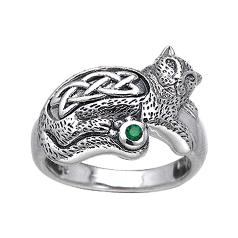 Sterling Silver Celtic Knot Green Glass Cat Ring - Silver Insanity