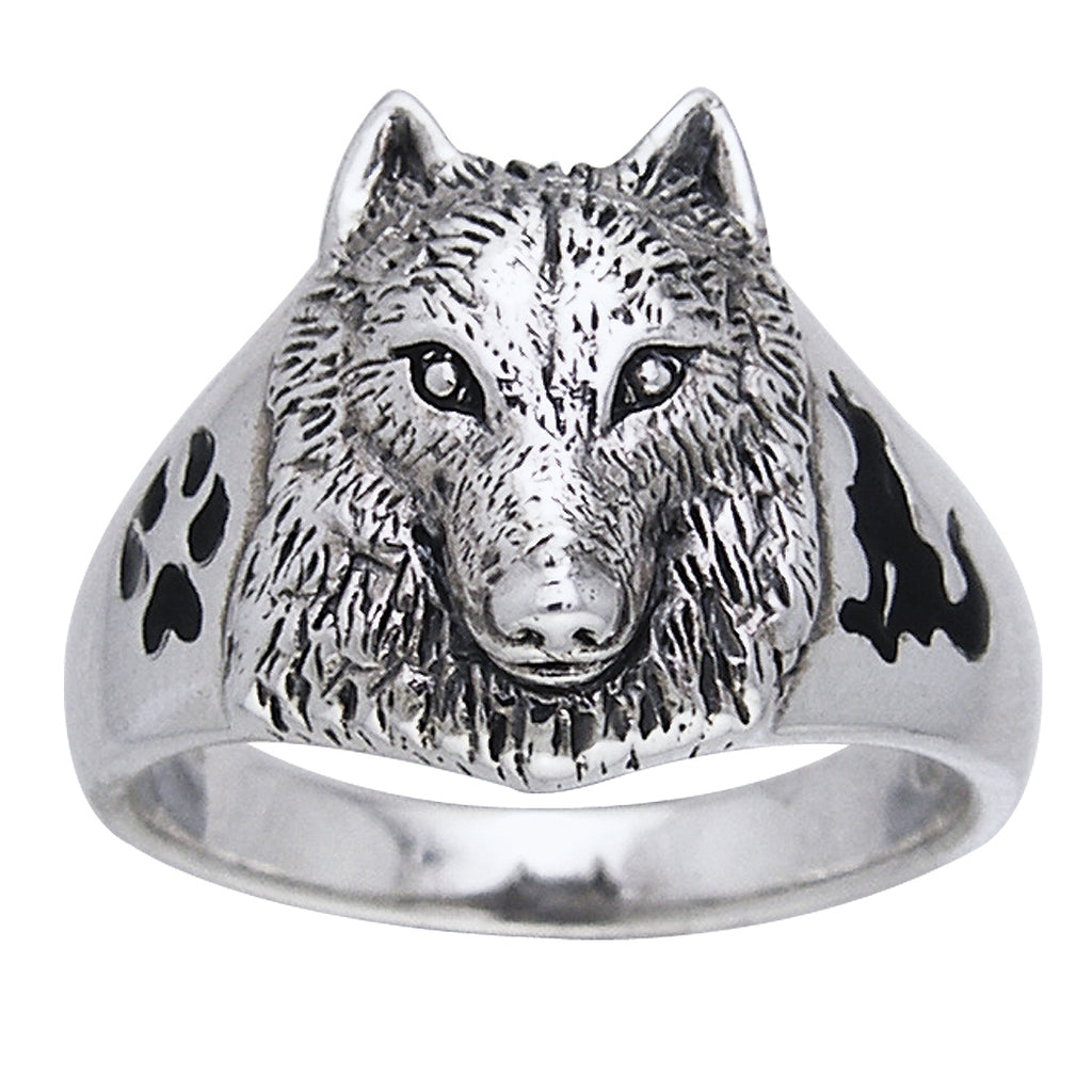Sterling Silver Animal Paw and Wolf Head Ring