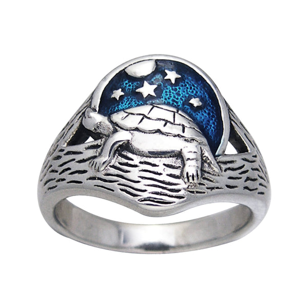 Sterling Silver Sea Turtle Beach at Night Scene Moon Stars Ring - Silver Insanity