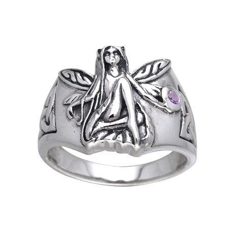 Sterling Silver Celtic Knot Fairy Amethyst Ring - Silver Insanity