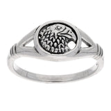 Animal Speak - Sterling Silver Eagle Head Emblem Totem Ring - Silver Insanity