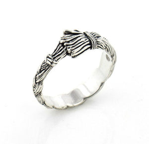 Native American Wolfwalker Braided Sweetgrass Sterling Silver Band Ring - Silver Insanity