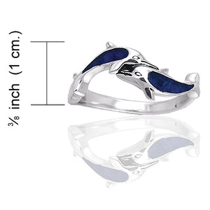 Deep Blue Paua Shell Double Dolphin Sterling Silver Ring - Silver Insanity