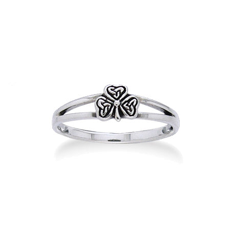 Irish Shamrock Celtic Knot Clover Sterling Silver 5mm Pinky Ring - Silver Insanity