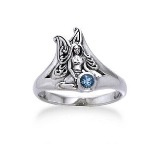 Detailed Fairy Sterling Silver Faery and Genuine Blue Topaz Ring - Silver Insanity