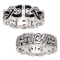 Mammen Weave Viking Knot Wedding Band Norse Celtic Sterling Silver Ring - Silver Insanity