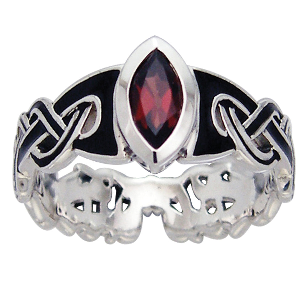 Mammen Viking Knot Garnet Norse Sterling Silver Ring - Silver Insanity