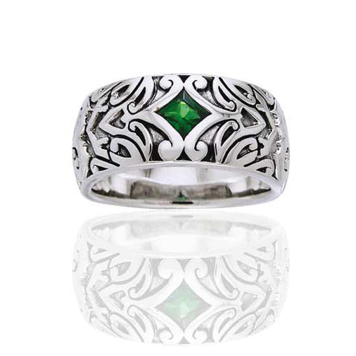 Celtic Maori Star Band Sterling Silver Green Glass Ring - Silver Insanity