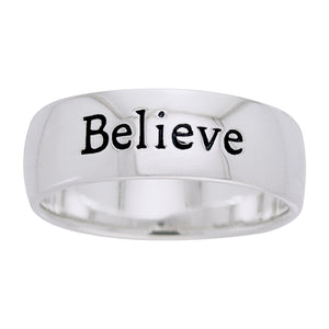 Believe - Words of Wisdom 6mm Sterling Silver Band Ring - Silver Insanity