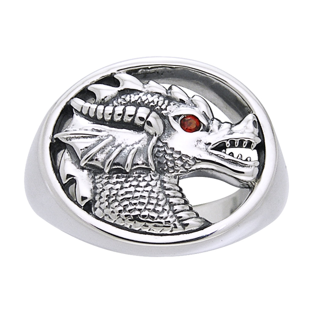 Sterling Silver Dragon Head Insignia Garnet Ring