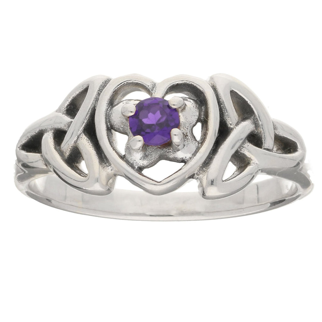 February Birthstone Ring Sterling Silver Amethyst Celtic Trinity Knot Heart