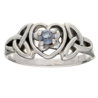 March Birthday Ring - Sterling Silver Aquamarine Celtic Knot Heart - Silver Insanity