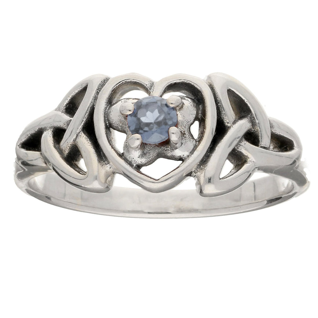 March Birthday Ring - Sterling Silver Aquamarine Celtic Knot Heart