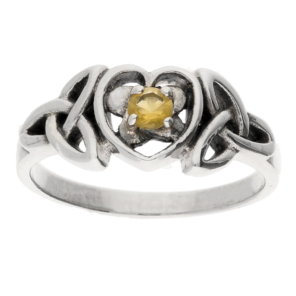November Ring - Sterling Silver Citrine Celtic Trinity Knot Heart