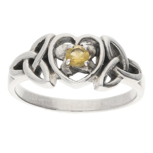 November Ring - Sterling Silver Citrine Celtic Trinity Knot Heart - Silver Insanity