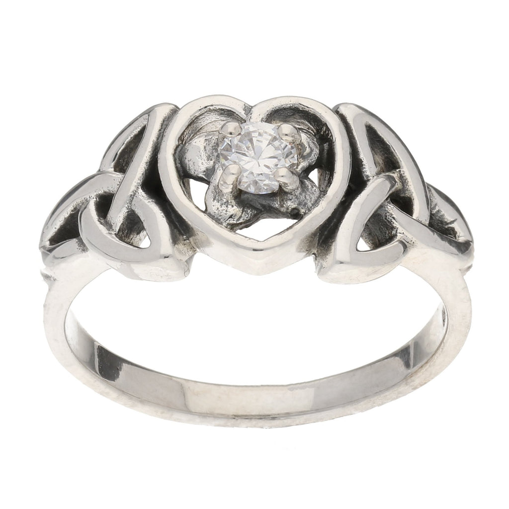 April Ring - Sterling Silver White CZ Celtic Trinity Knot Heart
