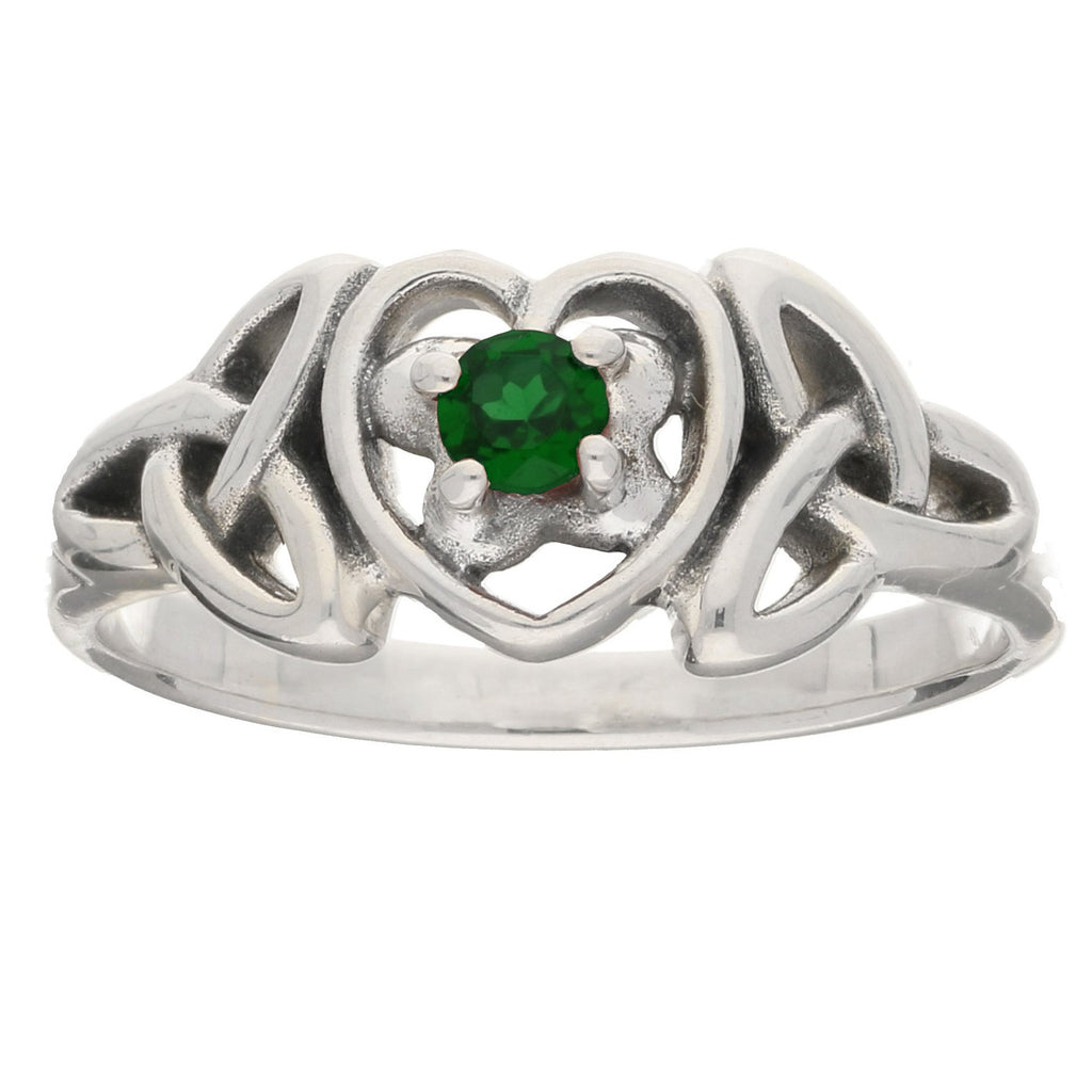 May - Sterling Silver Emerald Glass Celtic Trinity Knot Heart