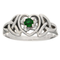 May - Sterling Silver Emerald Glass Celtic Trinity Knot Heart - Silver Insanity