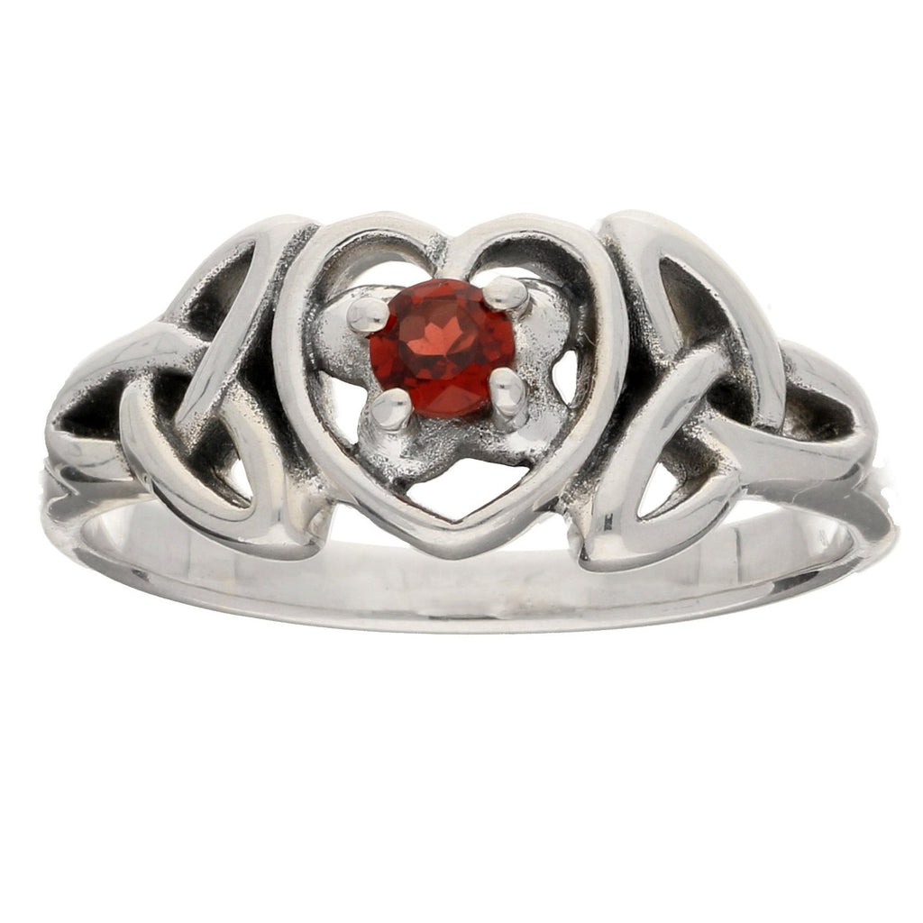 January Birthstone - Sterling Silver Garnet Celtic Trinity Knot Ring