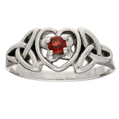 January Birthstone - Sterling Silver Garnet Celtic Trinity Knot Ring - Silver Insanity