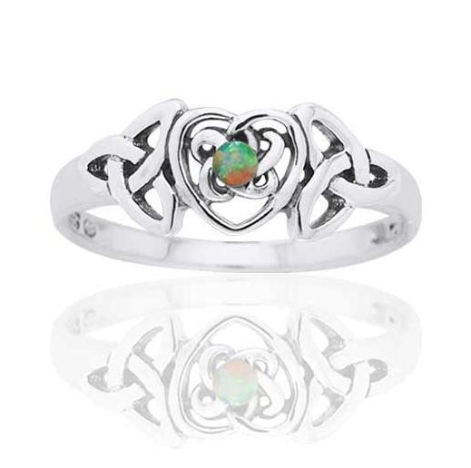 October Birthstone Sterling Silver Opal Celtic Trinity Knot Heart - Silver Insanity