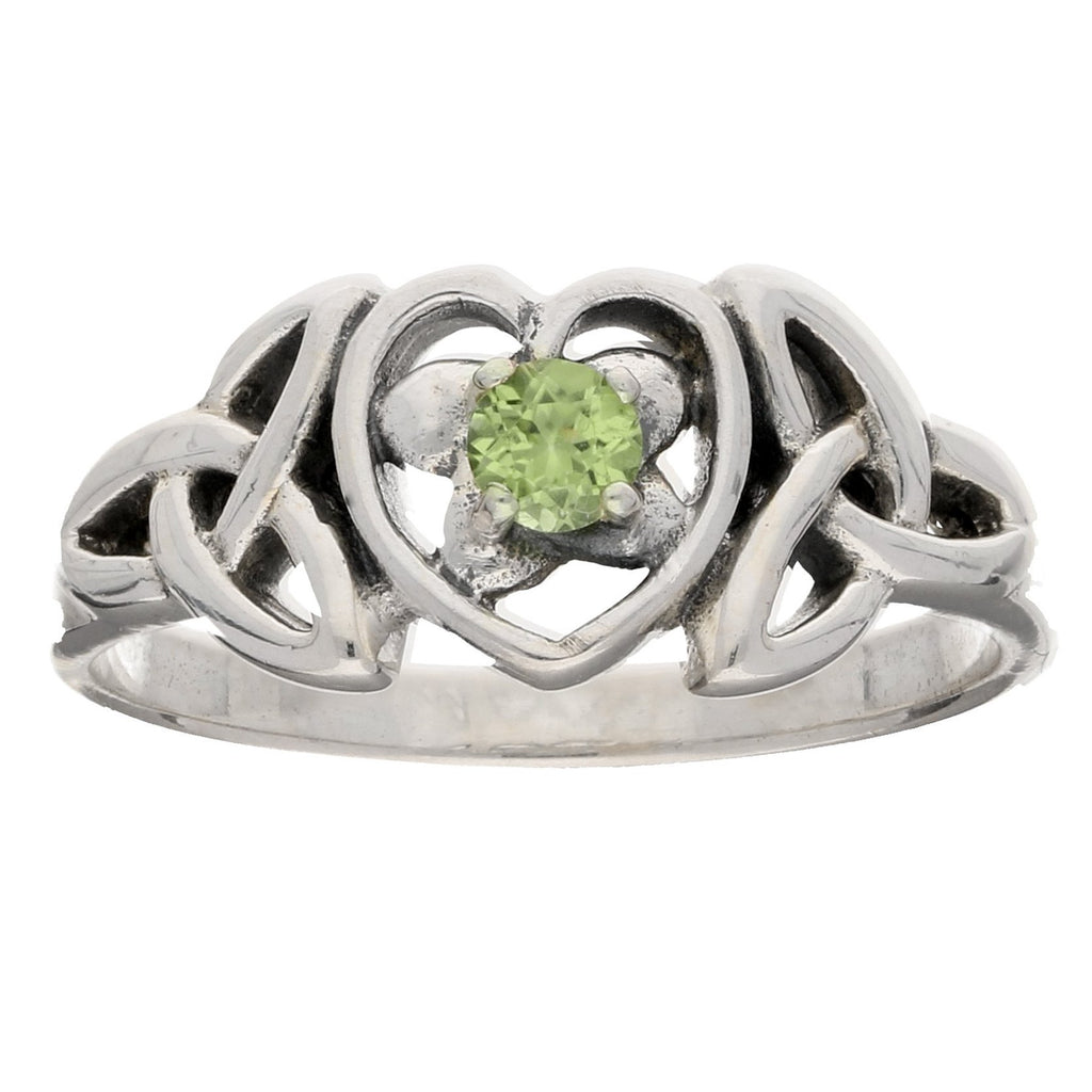 August Birthstone Ring - Sterling Silver Peridot Celtic Trinity Knot