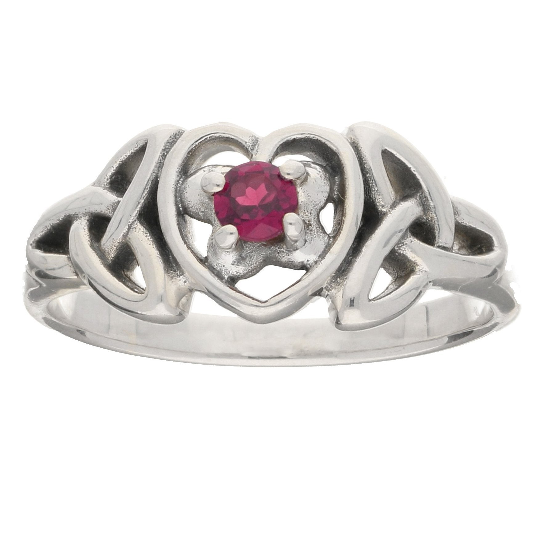 July Birthstone Ring - Sterling Silver Ruby Celtic Trinity Knot Heart - Silver Insanity