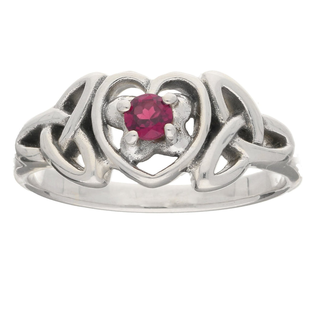 July Birthstone Ring - Sterling Silver Ruby Celtic Trinity Knot Heart