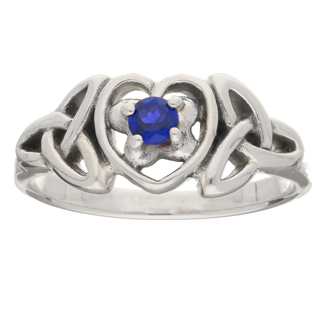 September Birthstone - Sterling Silver Sapphire Celtic Trinity Knot Heart Ring