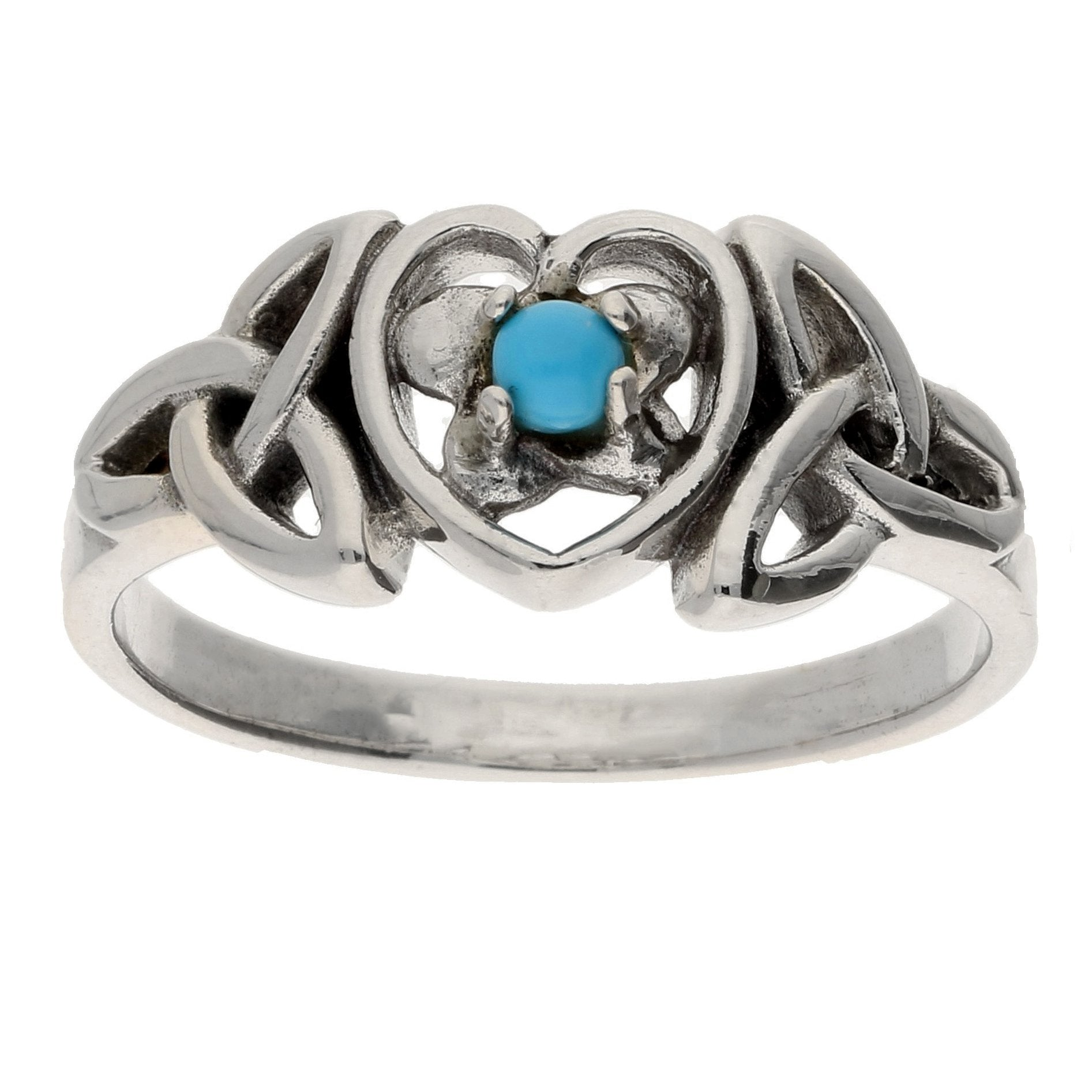 December Sterling Silver Turquoise Celtic Trinity Knot Heart - Silver Insanity