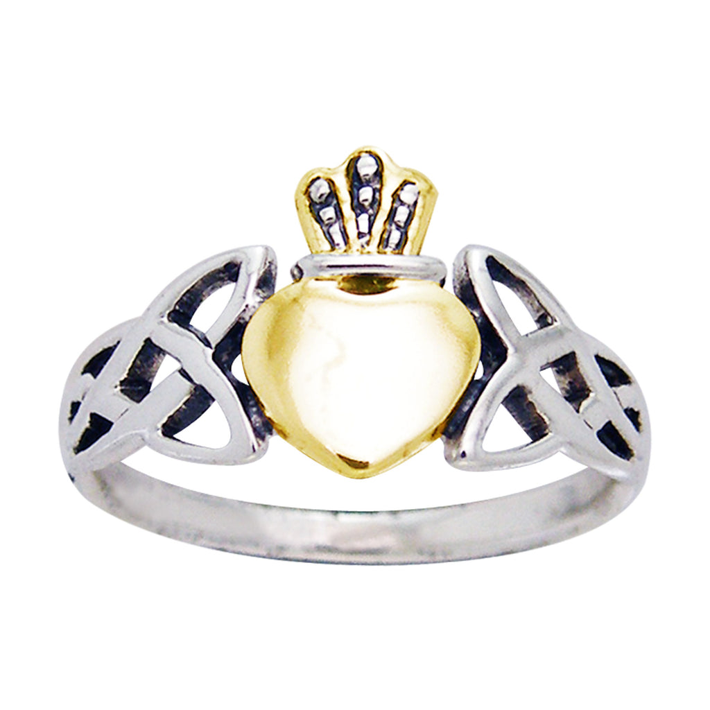 Two Tone Irish Claddagh Celtic Knotwork Sterling Silver Ring