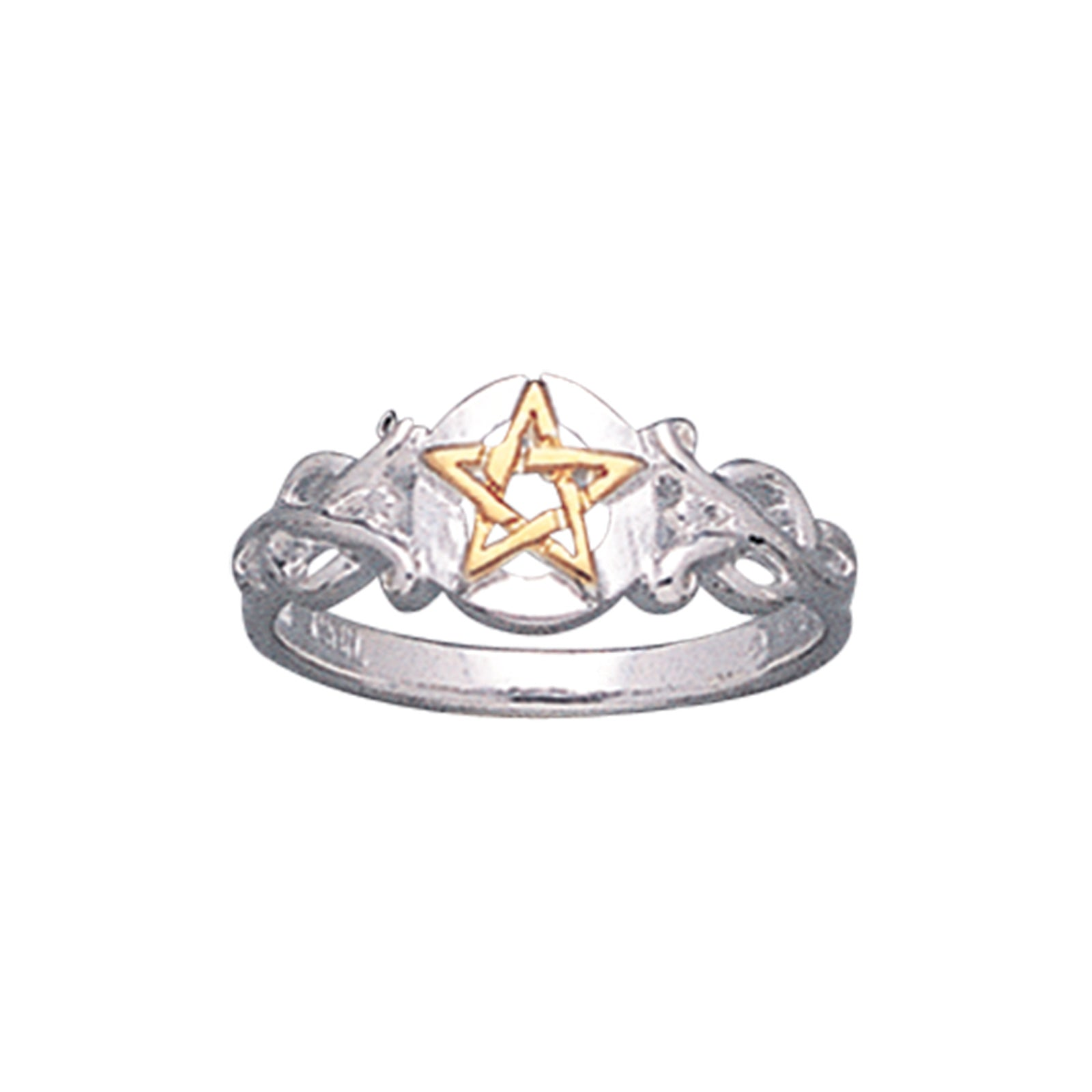 Sterling Silver Pentacle Golden Pentagram Band Ring - Silver Insanity