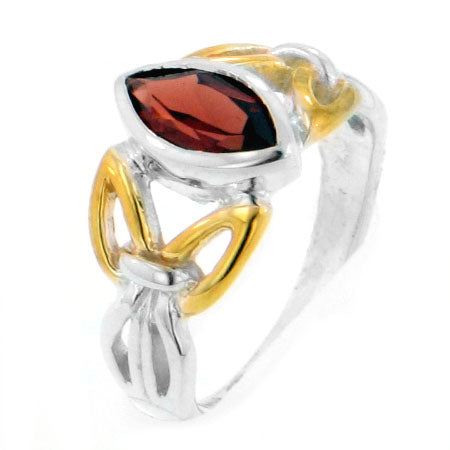 Sterling Silver 2-Tone Celtic Knot Garnet Ring