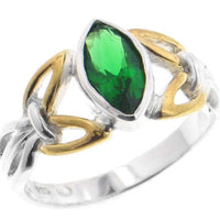 Silver Celtic Knot Emerald Green Glass Ring - Silver Insanity