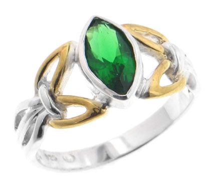 Silver Celtic Knot Emerald Green Glass Ring