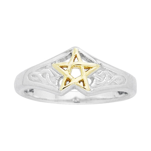 Sterling Silver Celtic Knot Golden Pentagram Ring - Silver Insanity