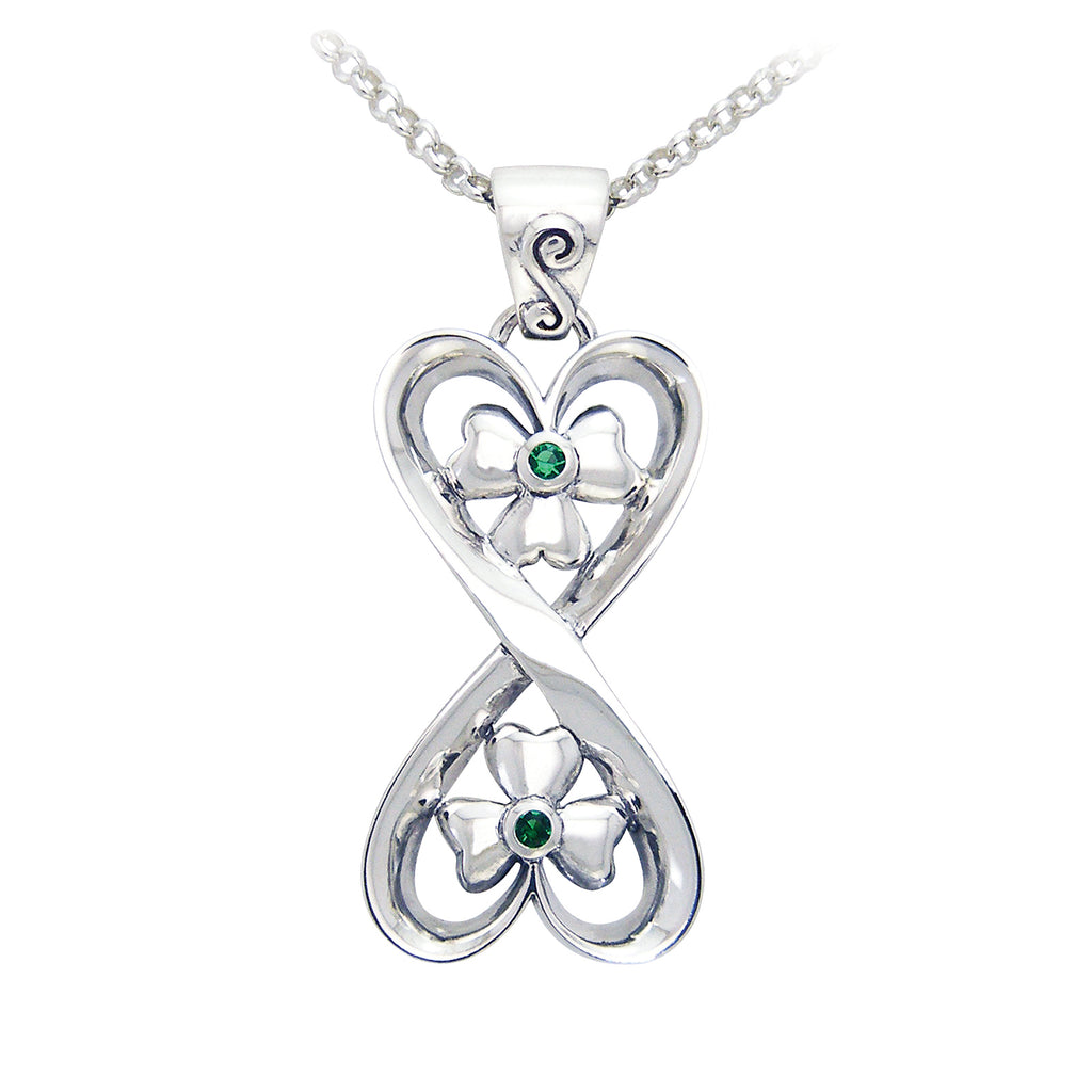 "Connected Hearts - Spirit of Danu Shamrock Pendant Sterling Silver 18"" Necklace"