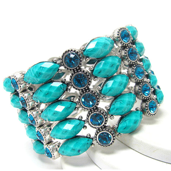 Vintage Style Blue Lucite and Crystal Stones Wide Stretch Cuff Bracelet