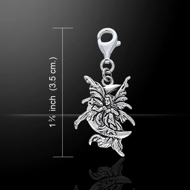 Stargazer Faery Fairy Sterling Silver Clip On Charm Pendant - Silver Insanity