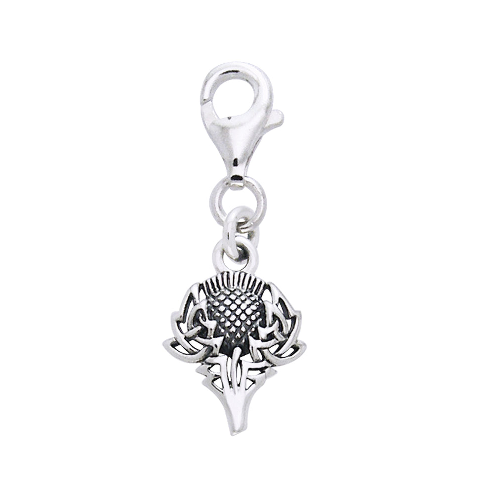 Scottish Spirit of Alba Thistle Celtic Knot Art Sterling Silver Clip-On Charm - Silver Insanity